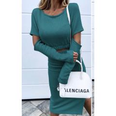 Γυναικείο σετ μπλούζα και φούστα 3814 πράσινο