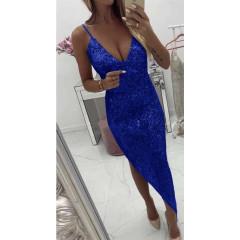 Γυναικείο ασύμμετρο φόρεμα με παγιέτες Κ002 μπλε