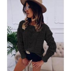 Γυναικείο πουλόβερ με εντυπωσιακή πλέξη 1758 μαύρο
