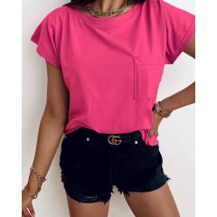 Γυναικείο κοντομάνικο με τσέπη 81525 φούξια