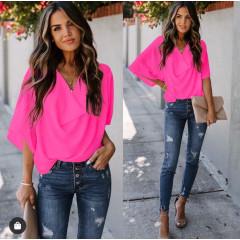 Γυναικεία μπλούζα με χαλαρό ντεκολτέ 50811 φούξια