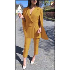 Γυναικείο σετ σακάκι και παντελόνι 3684 κίτρινο