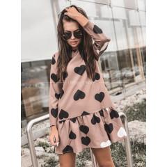 Γυναικείο φόρεμα με καρδούλες 395501 ροζ σκούρο