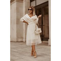 Γυναικείο φόρεμα με τούλι 32401 άσπρο