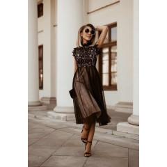 Γυναικείο φόρεμα με δαντέλα και τούλι 5227 μαύρο με μπεζ