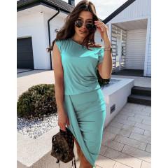 Γυναικείο εντυπωσιακό φόρεμα 5132 μέντα