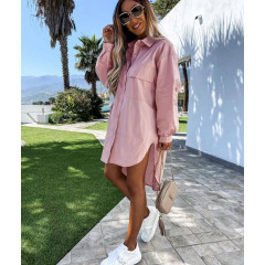Γυναικείο χαλαρό πουκάμισο 5538 ροζ