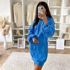 Γυναικείο μπλουζοφόρεμα με κουκούλα 3601 μπλε