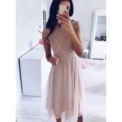 Γυναικείο φόρεμα με δαντέλα και τούλι 5227 πούδρα