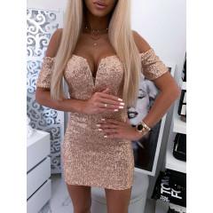 Γυναικείο εντυπωσιακό φόρεμα με παγιέτες 0093 ροζ χρυσό