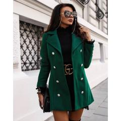 Γυναικείο παλτό με κουμπιά από τις δύο πλευρές 19718 πράσινο
