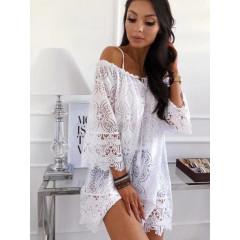 Γυναικείο φόρεμα δαντέλα 85033 άσπρο