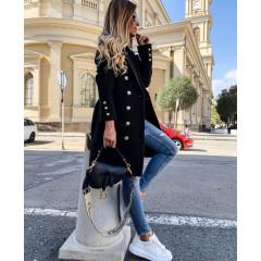 Γυναικείο παλτό διπλοκούμπωτο 38281 μαύρο