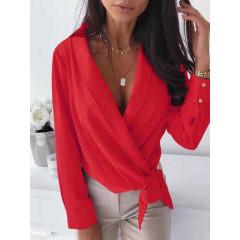 Γυναικείο κρουαζέ πουκάμισο με φιόγκο 3756 κόκκινο