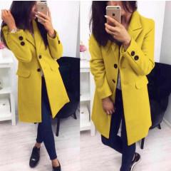 Γυναικείο στιλάτο παλτό 19688 κίτρινο