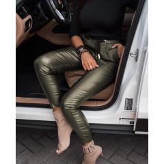 Γυναικείο παντελόνι δερματίνης 3471 σκούρο πράσινο