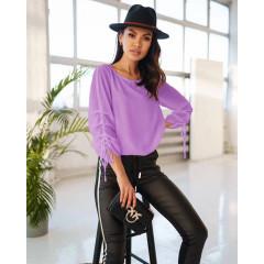 Γυναικεία μπλούζα με σούρα στο μανίκι 5487 λιλά