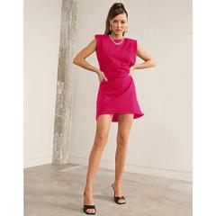 Γυναικείο φόρεμα με βάτες στους ώμους 5151 φούξια