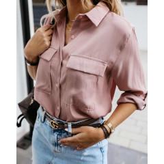 Γυναικείο πουκάμισο με τσέπες 5284 ροζ