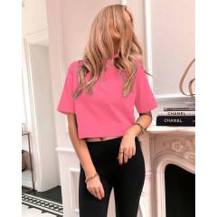Γυναικείο μονόχρωμο κοντομάνικο 88820 ροζ