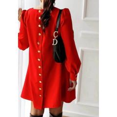 Γυναικείο φόρεμα με κουμπιά στην πλάτη 3977 κόκκινο