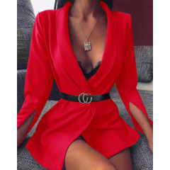 Γυναικείο σακάκι με σκίσιμο στο μανίκι 3994 κόκκινο