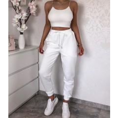 Γυναικείο αθλητικό παντελόνι με κορδόνια 4030 άσπρο