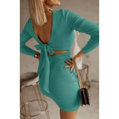 Γυναικείο φόρεμα με εντυπωσιακή πλάτη 5562 τυρκουάζ
