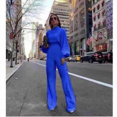 Γυναικεία ολόσωμη φόρμα με φαρδύ μανίκι 3572 μπλε
