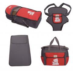 Σετ από 4 τμχ.- πορτ μπεμπέ, τσάντα, μάρσιπος και στρώμα 04106 γκρι/κόκκινο