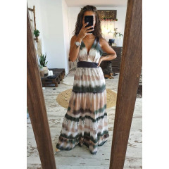 Γυναικείο μακρύ φόρεμα 7919 πράσινο