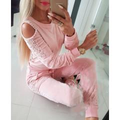 Γυναικείο σετ βελουτέ με περλές 2886 ροζ