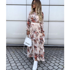Γυναικείο μακρύ φόρεμα με βολάν 3758 ροζ