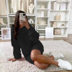 Γυναικείο μπλουζοφόρεμα με κουκούλα 3601 μαύρο