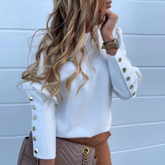 Γυναικείο πουκάμισο με χρυσά κουμπιά 382001 άσπρο