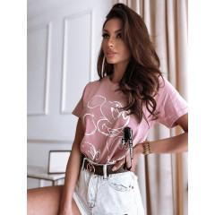 Γυναικείο κοντομάνικο με print 14487 ροζ
