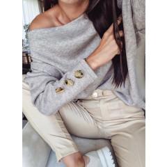 Γυναικεία μπλούζα με κουμπιά στο μανίκι 3735 γκρι