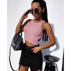 Αμάνικο κοντό μπλουζάκι 5646 ροζ
