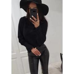 Γυναικεία μπλούζα με εντυπωσιακό μανίκι 3740 μαύρη
