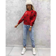 Γυναικείο φούτερ με καρδούλες 5400 κόκκινο