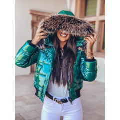 Γυναικείο μπουφάν με γούνα στην κουκούλα 00003 πράσινο