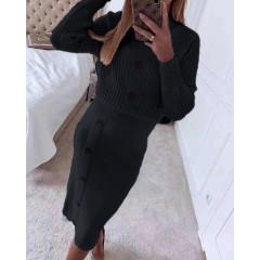 Γυναικείο σετ μπλούζα και φούστα 1784 μαύρο