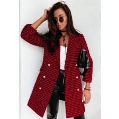 Παλτό πτι καρό με φόδρα 5431 κόκκινο