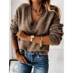 Γυναικεία μπλούζα με βαθύ ντεκολτέ 00690 καφέ