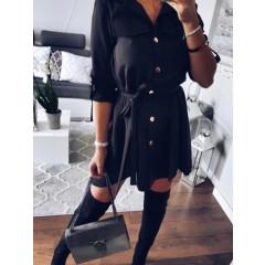 Γυναικείο φόρεμα με ζώνη 2405 μαύρο