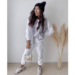 Γυναικείο αμάνικο μπουφάν με print 8205801 άσπρο