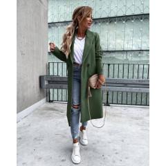 Γυναικείο εφαρμοστό παλτό με φόδρα 5972 πράσινο