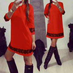 Γυναικείο φόρεμα με δαντέλα 383101 κόκκινο