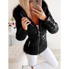 Γυναικείο μπουφάν με φούντα και γούνινη κουκούλα 81299 μαύρο