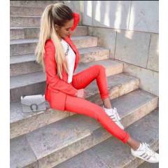 Γυναικείο σετ σακάκι και παντελόνι 1720 κόκκινο